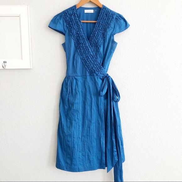 Calvin Klein Dresses & Skirts - Calvin Klein Blue Ruffle Cap Sleeve Wrap Dress 2